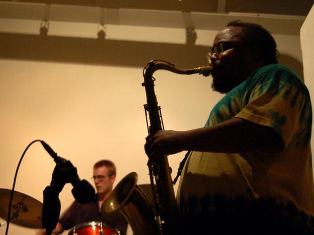 Ras Moshe Trio performs at the New Atlantis Festival.