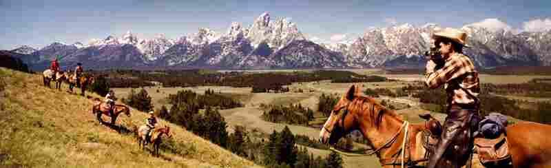 Cowbowys in Grand Tetons, Grand Tetons, Wyoming. Displayed 1964