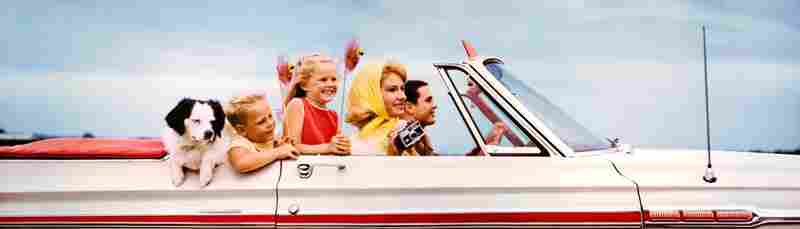 Family in convertible, Texas. Displayed 1968
