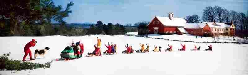 Snowmobile pulling 9 sleds, Francestown, N.H. Displayed 1969