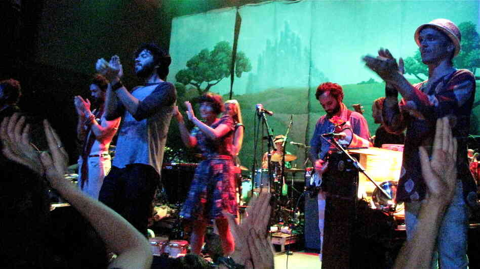Clap it up! Edward Sharpe and The Magnetic Zeros look to the audience to keep the rhythm.