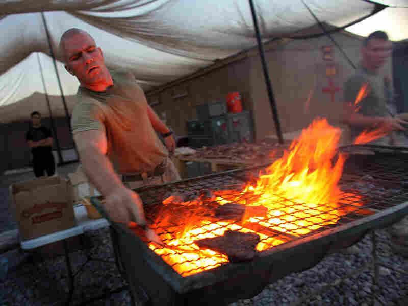 Marine cooks meat