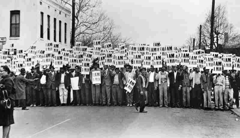 Sanitation Workers Assembling for a Solidarity March, Memphis, was taken by photographer Ernest Withers, March 28, 1968