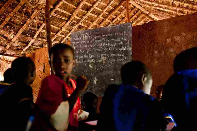 Children attend classes at a school run by Catholic nuns in Nzara, Western Equatoria state. LRA attacks frequently occur nearby.