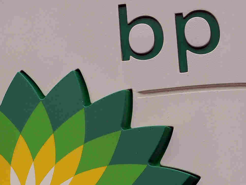 A BP petrol station logo is pictured in