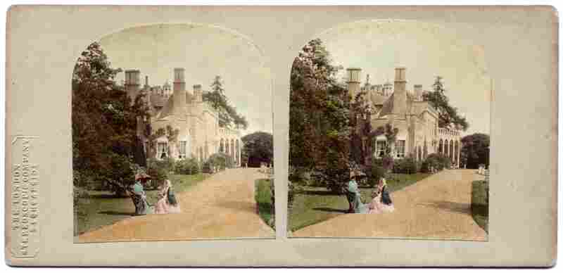 May's book, A Village Lost and Found, shows a selection of these stereographs, which he curated. This pair of images, called The Squire's House, will appear 3-dimensional when viewed through stereoscopic glasses.