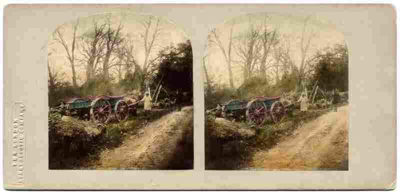 Lane Leading to the Farm. Although May obviously did not invent the stereoscope, he did devise the collapsible type that come with his book. The verse that accompanies the images was written by T. R. Williams, the original photographer.