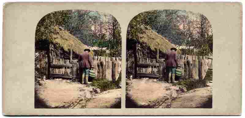 John Sims at his Pigstye. With the help of his research partner as well as an online audience, May was able to locate the town in which these stereographs were made.