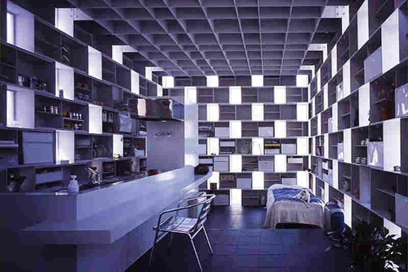 "Interior of ""Cell Brick."""