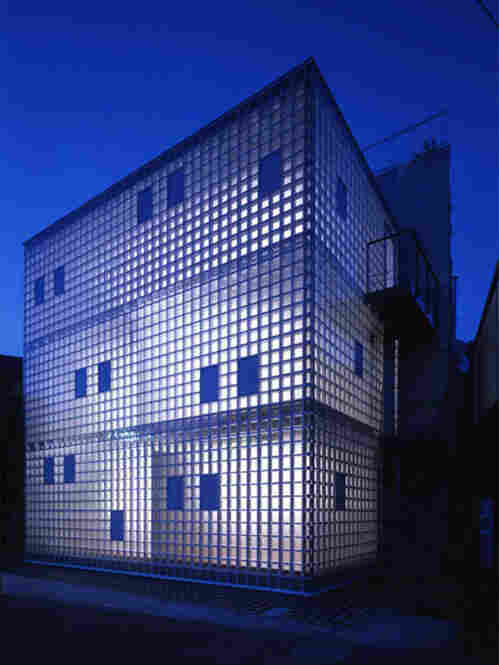 """Architect Yasuhiro Yamashita experiments with unorthodox building materials. His """"Crystal Brick"""" micro home, built in 2004, was constructed from air-filled glass blocks fitted into a steel frame. At night, it glitters."""