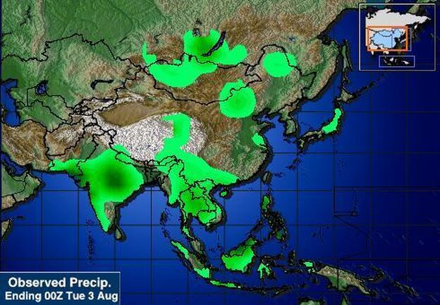 Today's rainfall in Asia.