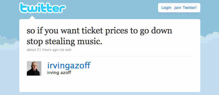 Irving Azoff's Twitter feed