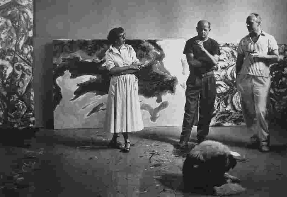 Krasner, Pollock and a neighbor, Sam Duboff, in Pollock's studio, August 1953