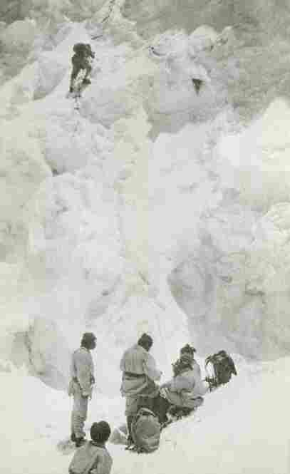 The 1924 expedtion crew climbs the North Col, the pass connecting Mount Everest and the mountain Changtse in Tibet.