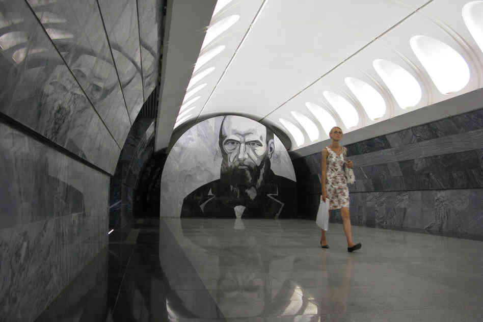 The Dostoevskaya metro station opened in Moscow in June 2010. Subway riders entering the new station can't miss the oversized portrait of Russian writer Fyodor Dostoevsky staring