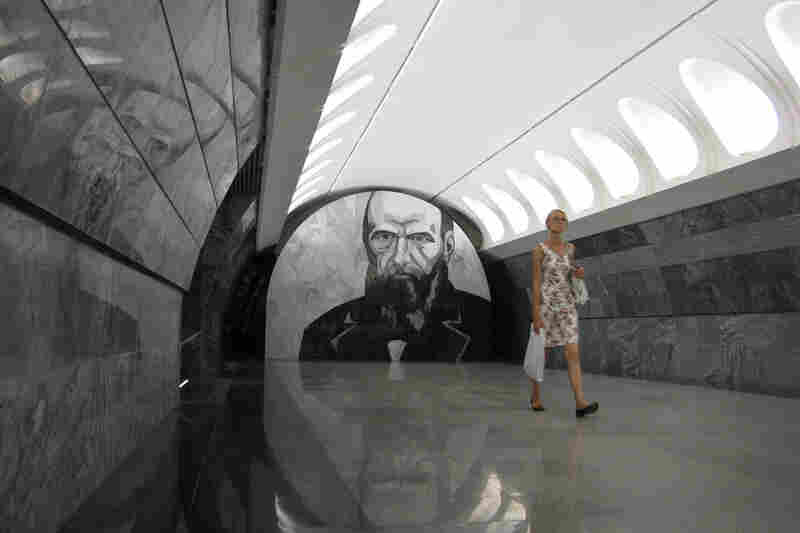 The Dostoevskaya metro station opened in Moscow in June 2010. Subway riders entering the new station can't miss the oversized portrait of Russian writer Fyodor Dostoevsky staring down at them.