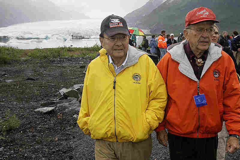 Stevens (right) and Inouye visited the Spencer Glacier, south of Girdwood, Alaska, on Aug. 16, 2007, during the dedication of the first phase of the Alaska Railroad and U.S. Forest Service's Whistle Stop service. Over the years, Stevens directed billions of dollars to his home state.