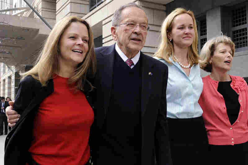 Former Alaska Sen. Ted Stevens served in the Senate longer than any Republican in history. He lost his seat amid corruption charges that were dismissed in April 2009. Here, he leaves federal court after the dismissal with his daughters, Beth Stevens, Lily Stevens and Susan Covich.