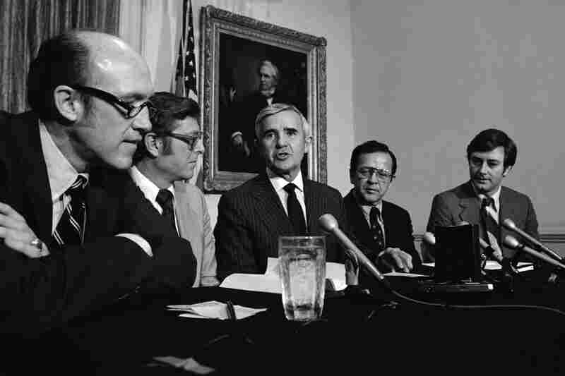 "Stevens was first appointed to the Senate in 1968 and served for four decades, becoming known as ""Uncle Ted"" in Alaska for the work he did for the state. Stevens (second from right) appeared with other senators in 1980 to talk about Ronald Reagan's presidential campaign."