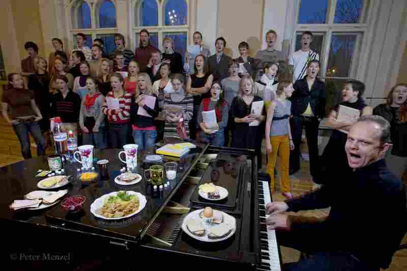 Ansis Sauka, a voice teacher, musician and composer, rehearses with the Riga youth choir in Latvia. He is 36 years old, about 6 feet tall, 183 pounds, and on a typical October day, he consumed 3,900 kcals. Some of his food: egg, rye bread with ham, cheese and butter, chicken, potato with mayonnaise, cookies.