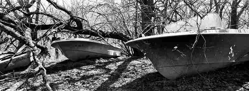 Old boats at the edge of a field on the James family's property.