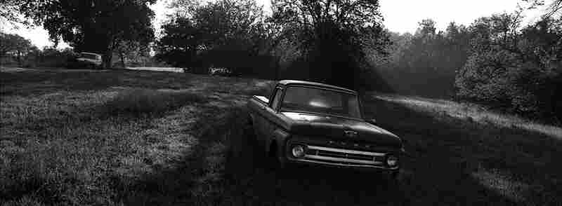 A 1965 Ford pickup truck at the back of Tim Cooper's property.