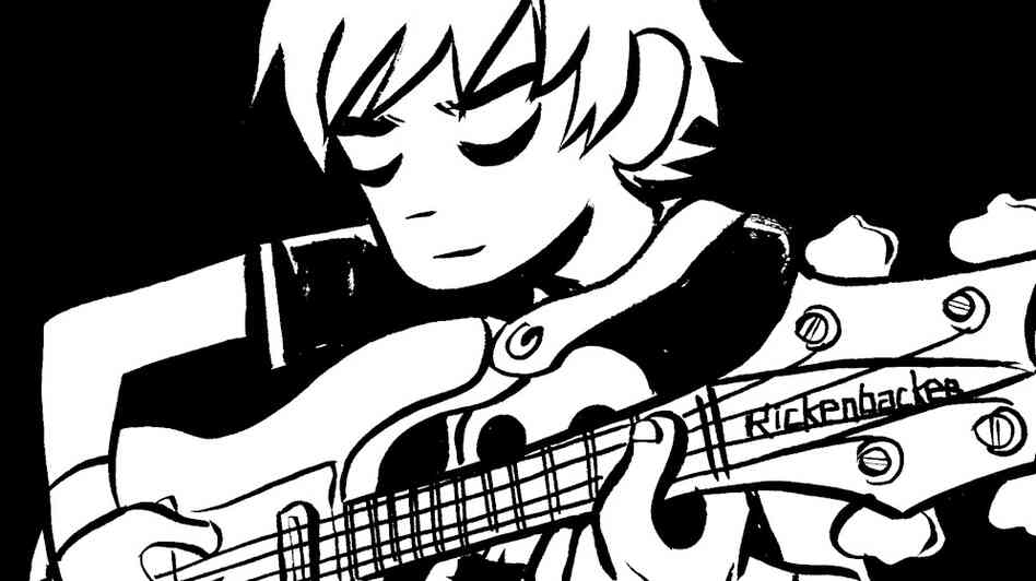 Scott Pilgrim plays bass in Sex Bob-Omb
