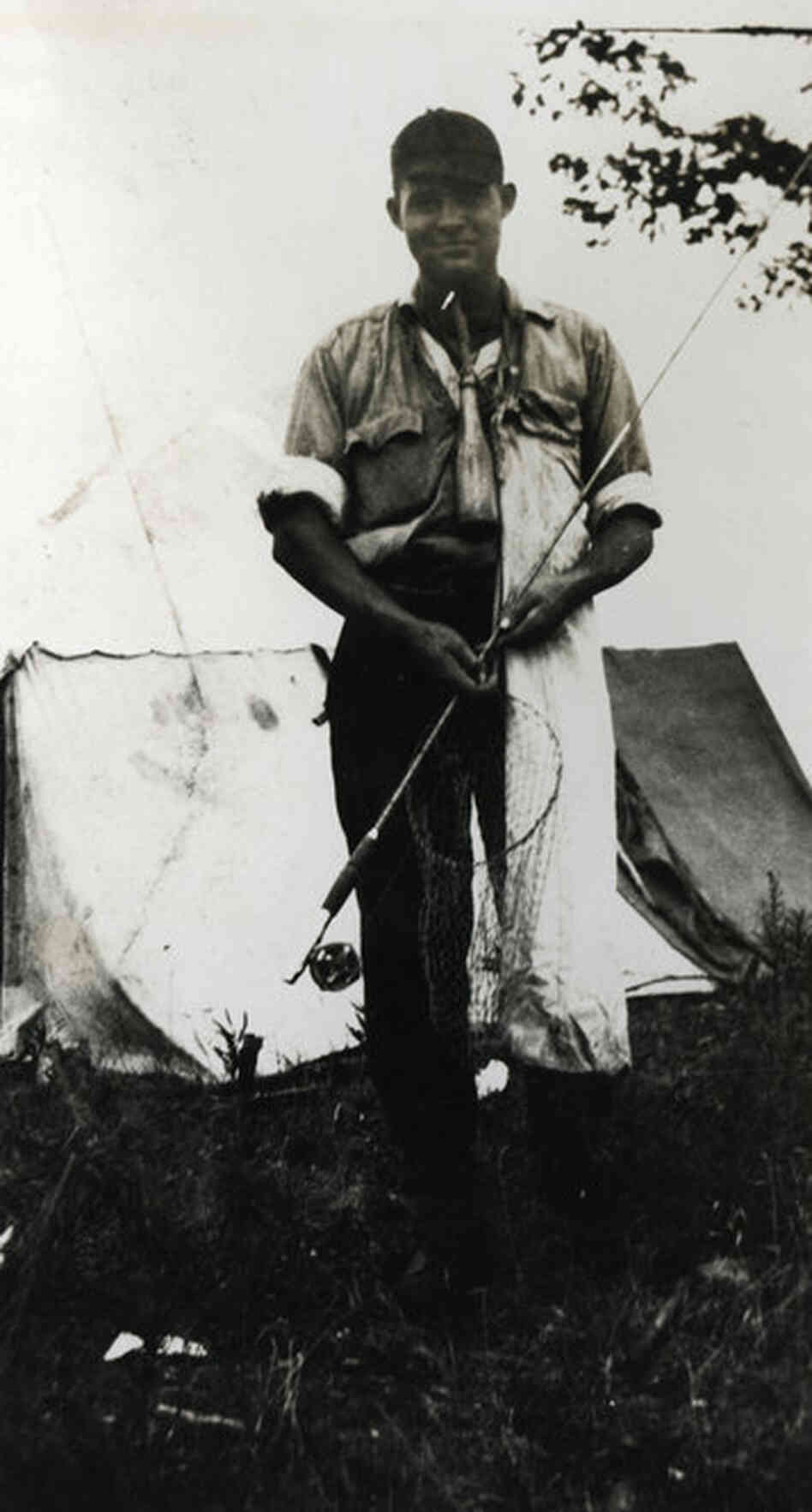 Ernest's fishing equipment closely resembles that of his fictional protagonist, Nick Adams — including the flour sack and bottle hanging around his neck for grasshoppers.