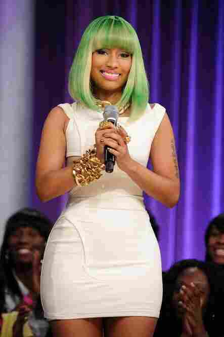 Nicki in a Lil Kim wig at BET Studios on March 31, 2010 in New York City. She's cited the rapper as a role model.