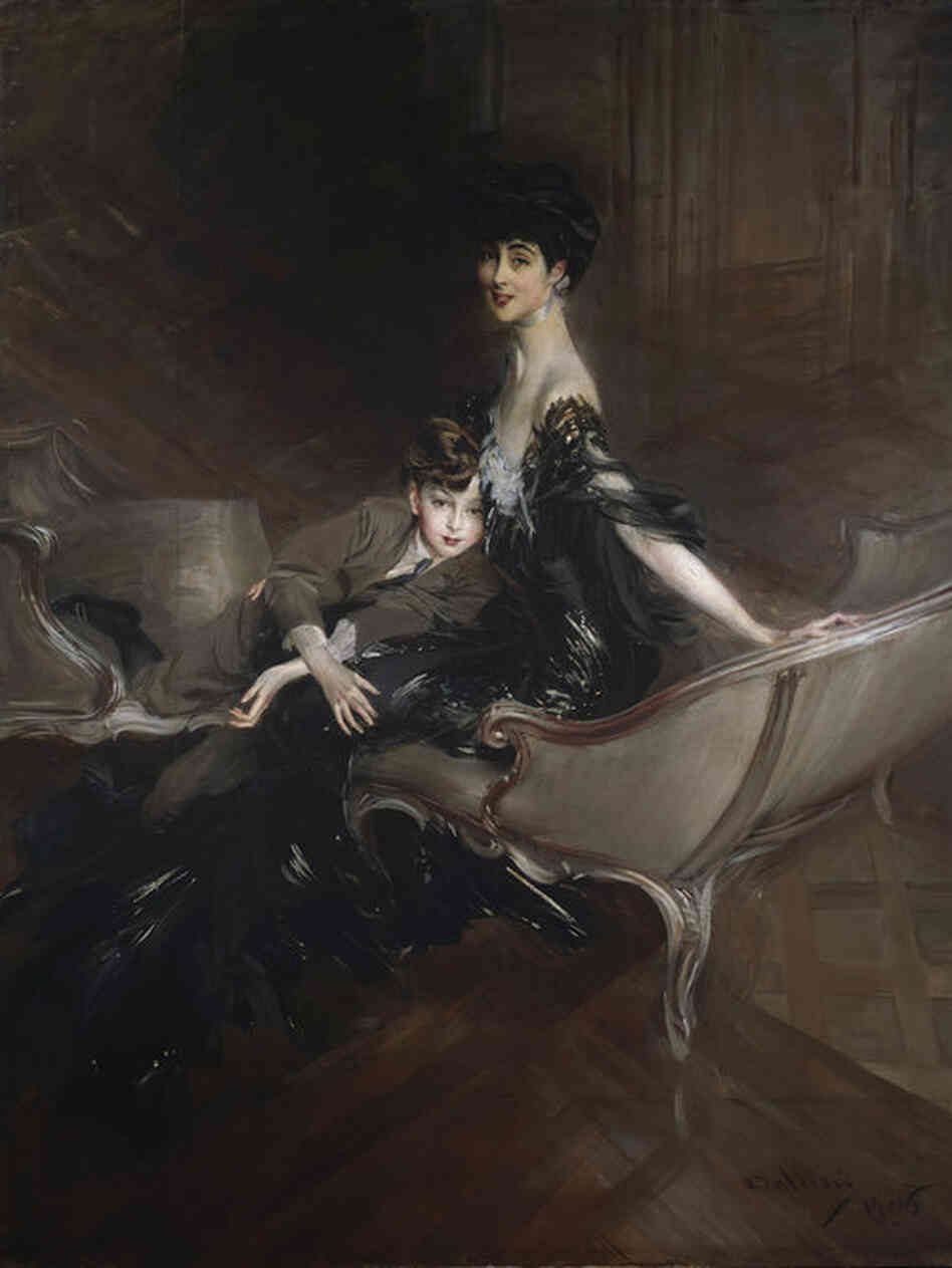 Consuelo Vanderbilt, a wealthy American who became a member of the European aristocracy when she wed Charles Spencer-Churchill, the Duke of Marlborough, in 1895. (Giovanni Boldini, Consuelo Vanderbilt (1876–1964), Duchess of Marlborough, and Her Son, Lord Ivor