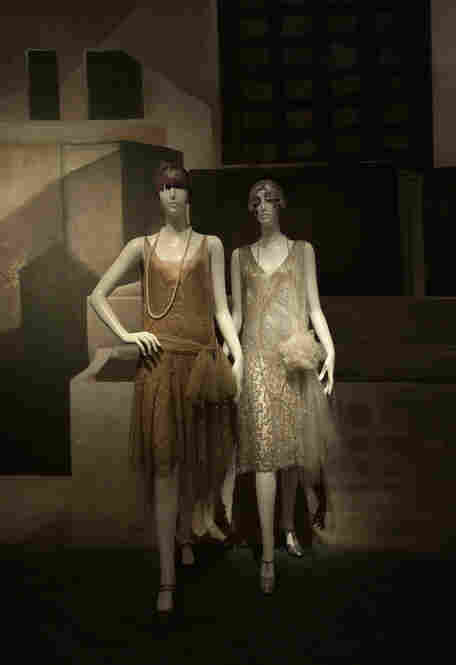 One view of the Metropolitan Museum's Flapper Gallery: The Lanvin outfit is next to a dress by an anonymous French designer.