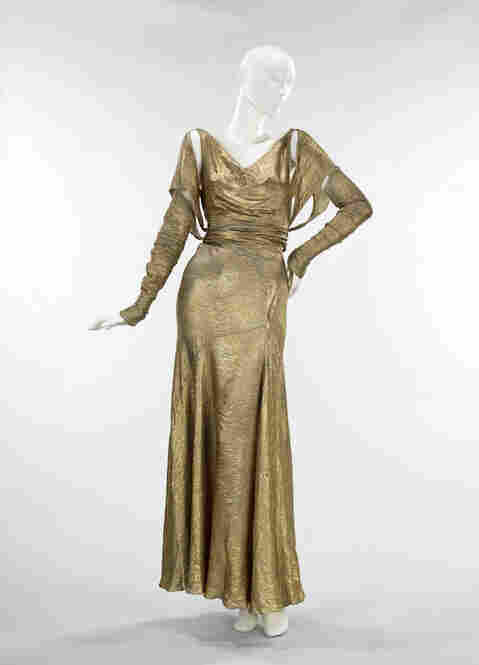 A gold lame evening dress fit for an American bombshell like Wong, Jean Harlow or Rita Hayworth.