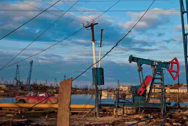 Rusting oil pumps and obsolete equipment from the Soviet era pollute the horizon outside of Baku. Azerbaijan is still in its infancy as an independent nation, having received independence from the Soviet Union in 1991.