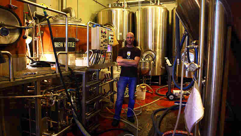 Brian Strumke of Stillwater Artisanal Ales brews a batch of beer at DOG Brewing Company in Westminster, Md.