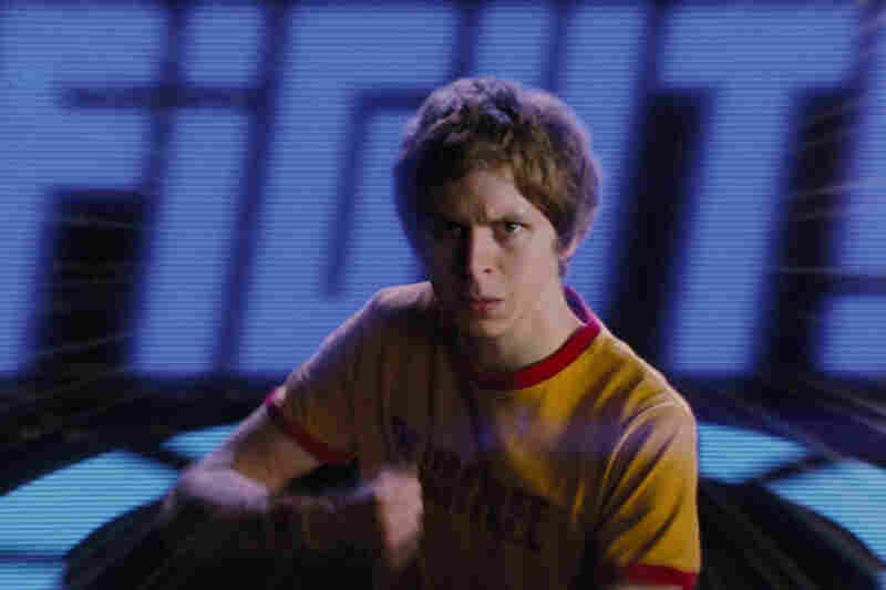 Scott Pilgrim (Michael Cera) takes on one of his girlfriend's Seven Evil Exes in the superstylized action comedy Scott Pilgrim vs. the World.