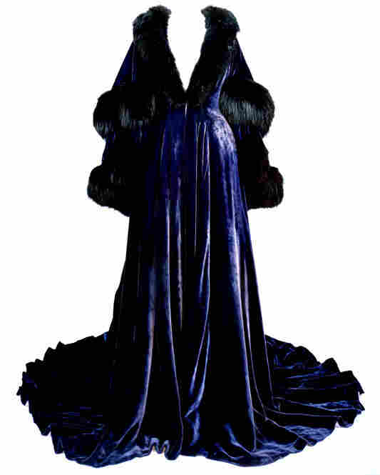 The blue velvet peignoir worn by Vivien Leigh as Scarlett O'Hara in Gone With The Wind. Image courtesy Harry Ransom Center.