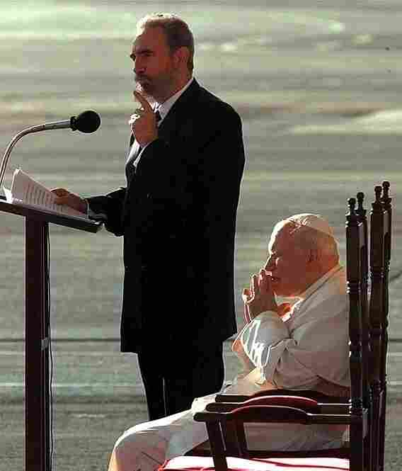 Pope John Paul II listens as Fidel Castro makes remarks on Jan. 21, 1998, during a welcoming ceremony at Jose Marti International Airport in Havana. The pope arrived for an historic five-day visit.