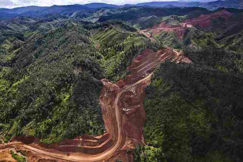 A path cut for a nickel mine slices through a species-rich forest. Ignoring the previous government's pledge to set aside 10 percent of the island for protected areas, new leaders continue to promote mining.