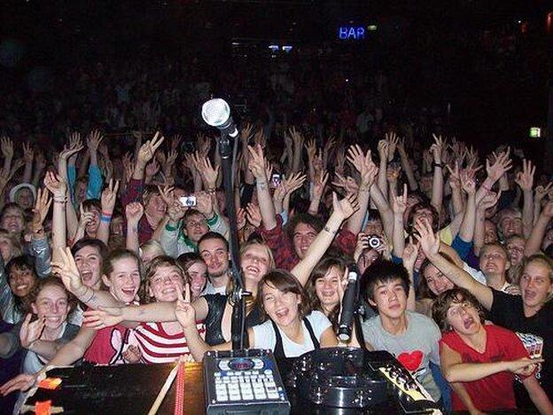 crowd at an El Guincho concert in Sydney, Australia.
