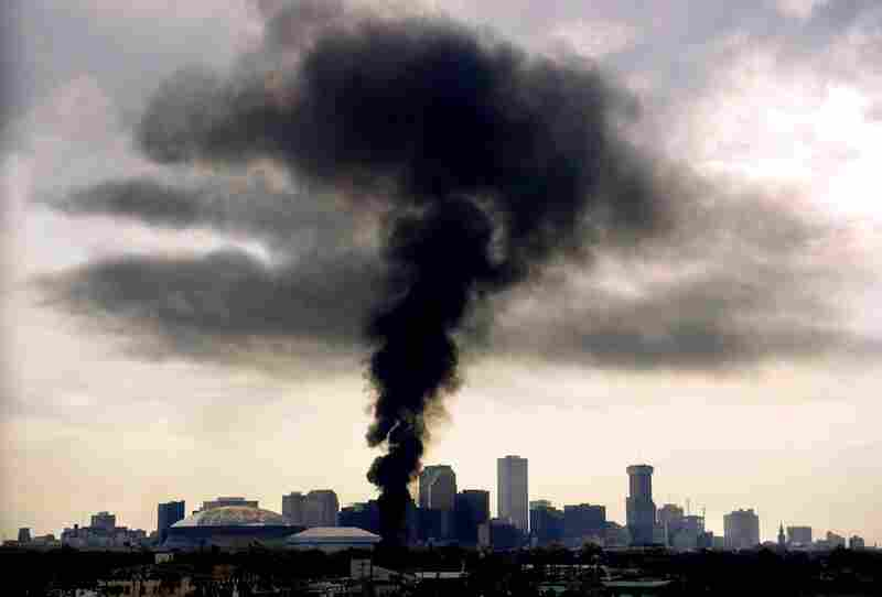 Fire rages unimpeded Aug. 30, 2005, the morning after Hurricane Katrina hit New Orleans.