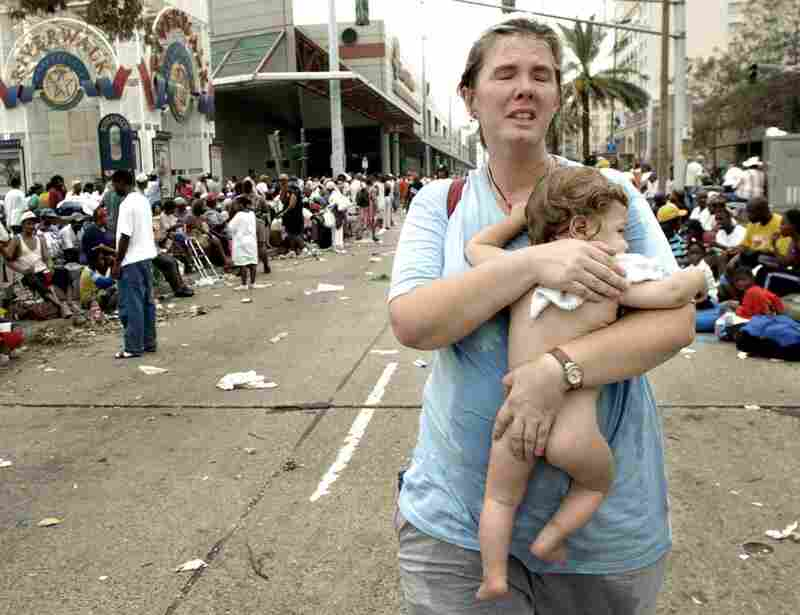Lee Ann Bemboom seeks help for her 11-month-old son Jahon who became dehydrated while they were stranded for days at the Ernest N. Morial Convention Center on Sept. 1, 2005. After waiting in vain, she left looking for help elsewhere.