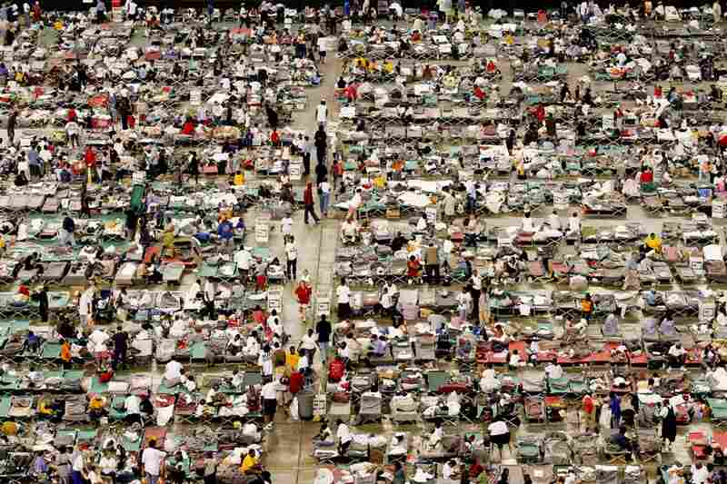After Hurricane Katrina flooded New Orleans, more than 15,000 evacuees had to be transported to a makeshift shelter at the Astrodome in Houston, Sept. 2, 2005.