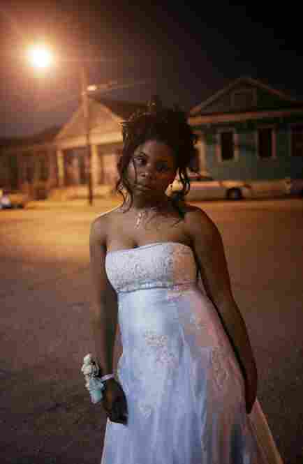 Kirrione Jones stands outside John McDonogh High School after attending her prom June 1, 2007, in New Orleans. It was the first prom at the struggling inner-city school since Hurricane Katrina.