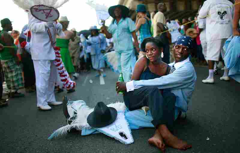 Members of the Original Big 7 Social Aid and Pleasure Club hold a traditional second line parade in the 7th Ward on May 10, 2009.
