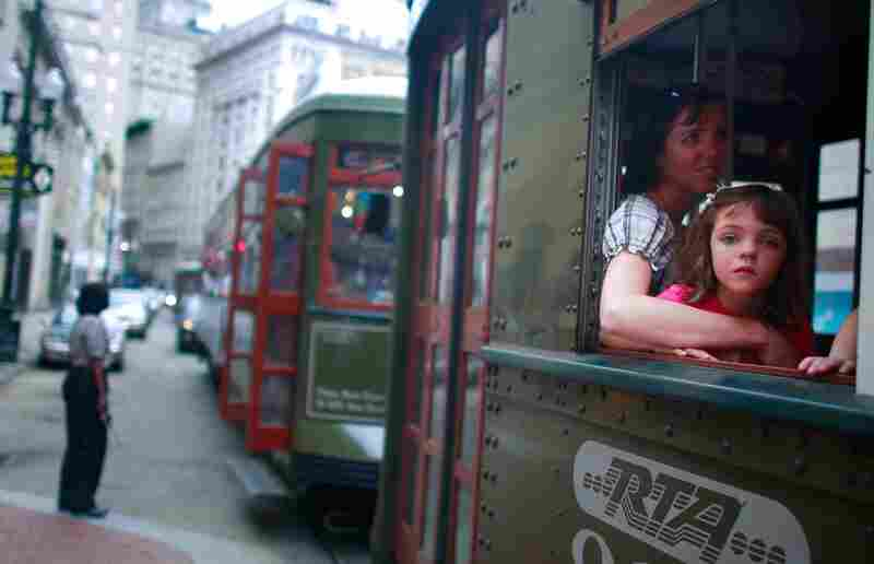 Lauren and Jana, tourists from Utah, ride a streetcar May 15, 2009, in New Orleans.
