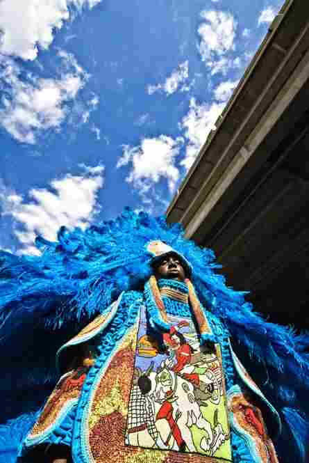 Under the Claiborne Ave overpass, a Mardi Gras Indian is draped in feathers as blue as the sky above. When the Indians parade through New Orleans, they become larger than life itself.
