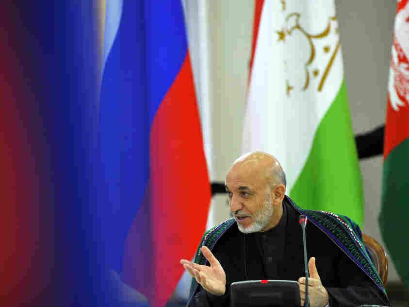 Afghan leader Hamid Karzai speaks during