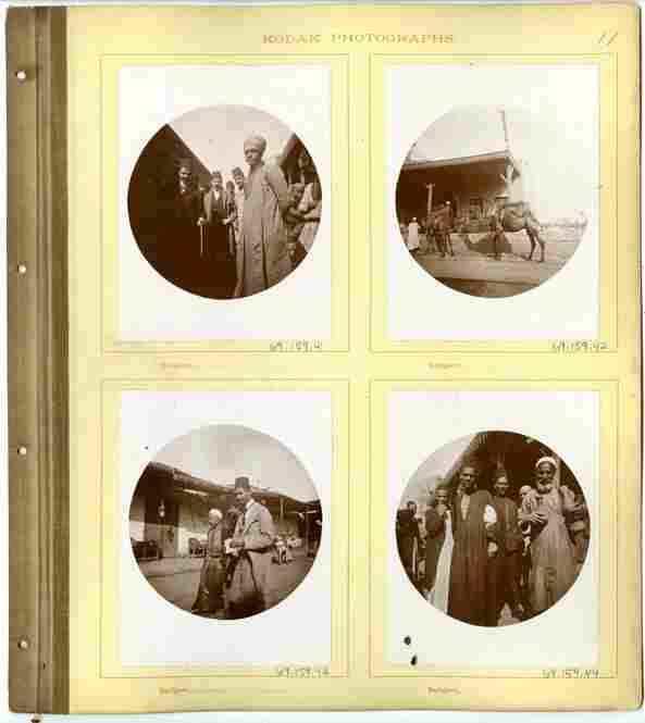 "This album shows photographs taken with one of Kodak's ""You push the button, we do the rest"" cameras. It belongs to Dr. and Mrs. Walter Clark and shows photos show travel photos in Egypt."