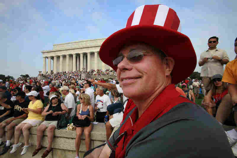 "James Johnson of Delray Beach, Fla., attends conservative commentator Glenn Beck's ""Restoring Honor"" rally at the Lincoln Memorial in Washington, D.C., on Saturday."