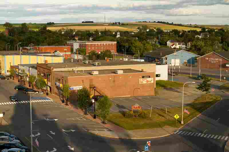The city center of Caribou, Maine, is surrounded by farmland. The area produces mostly potatoes and wood products.